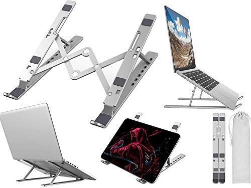 """Laptop Stand, Adjustable Portable Aluminium Laptop Riser Laptop Holder for Desk, Foldable Ventilated Notebook Stand for MacBook Pro / Air, HP, Lenovo, Sony, Dell, Universal 10-15.6"""" Laptops, Tablet"""