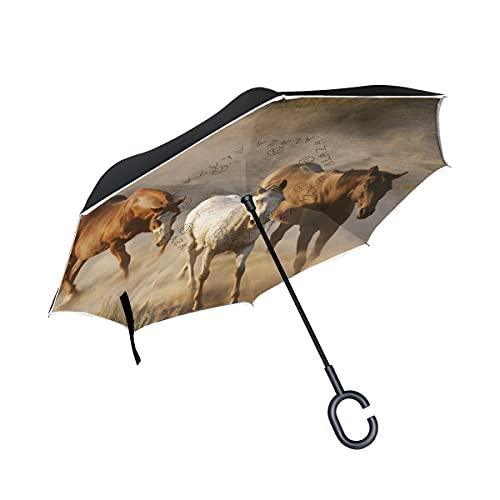 hengpai Blanco marrón Corgi perro flores plantas invertidas adentro hacia afuera paraguas coches unigue a prueba de viento UV doble capa para mujeres