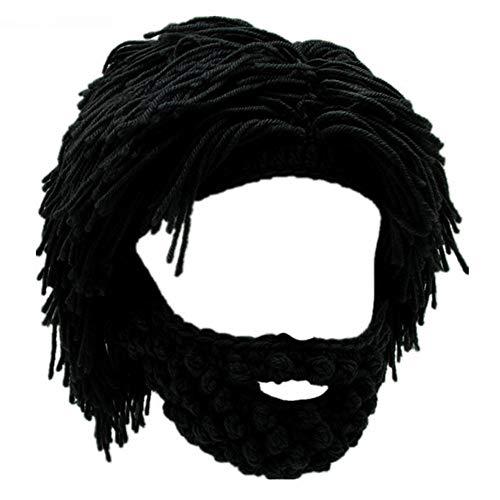 Yekeyi, berretto da barba vichingo, lavorato a mano a maglia con teschio - Nero - L