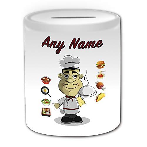 UNIGIFT - Salvadanaio da chef maschile (design occupazione) con qualsiasi nome messaggio unico salvataggio salvadanaio - Job Restaurant Take Away Food Baker, cucina hotel Uniform