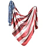 Large Premium Knit Baby Swaddle Receiving Blanket Patriot by Copper Pearl