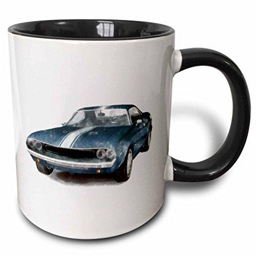 3dRose mug_40591_4'Classic Muscle Car' Two Tone Black Mug, 11 oz, Multicolor