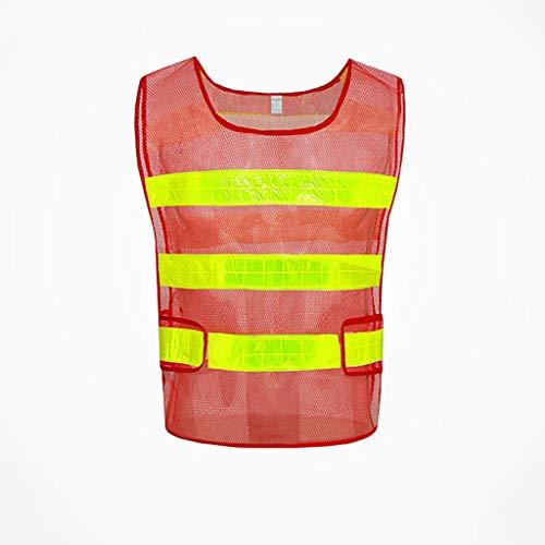 La seguridad Practica nueva ropa de seguridad Visibilidad Seguridad Chaleco de seguridad Chaqueta Tiras reflectantes Ropa de trabajo Uniformes Ropa Ligero (Color : Red)
