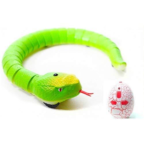Serpiente Teledirigida de Juguete Radiocontrol RC con Movimiento de Lengua   Regalo Animales Robotica para Niños (Verde)