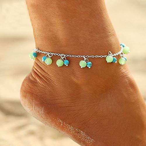 Simsly Beach Türkis Fußkettchen Silber Quaste Knöchel Armband Perlen Fußschmuck Verstellbar für Damen und Mädchen