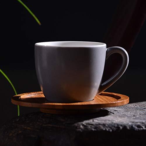 Erjialiu Brief céramique Tasse à café Expresso avec kit de Soucoupe en Bois Mini Drinkware Accueil Petit déjeuner Tasse de Lait Plat pour ami Cadeaux,Style B