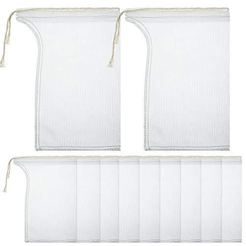 Compost Tea Bag, Pump Strainer Bag with Drawstring, Mesh Filter Bag, 600 µm for Prevents Clogging During The Straining Process (10, 23 x 16 cm)