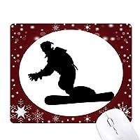 スキースキーボードのスポーツ選手 オフィス用雪ゴムマウスパッド