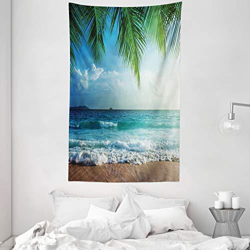 ABAKUHAUS Ozean Wandteppich & Tagesdecke, Palms Tropical Island, aus Weiches Mikrofaser Stoff Wand Dekoration Für Schlafzimmer, 140 x 230 cm, Grün & Blau