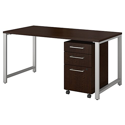 Bush Business Furniture 400 Series 60W x 30D Table Desk with 3 Drawer Mobile File Cabinet in Mocha Cherry
