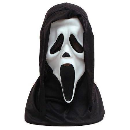 Adult Scream Screamer Mask Hood Glow in the dark Halloween fancy dress