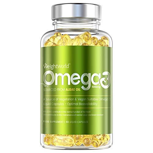 Omega 3 Vegan Kapseln - 1000mg Meeresalgenöl mit Omega 3, EPA & DHA Fettsäuren pro Portion - Geprüfte Zutaten - Nachhaltiger Fischöl-Ersatz mit Vitamin E - 60 Algenöl Kapseln - Von WeightWorld