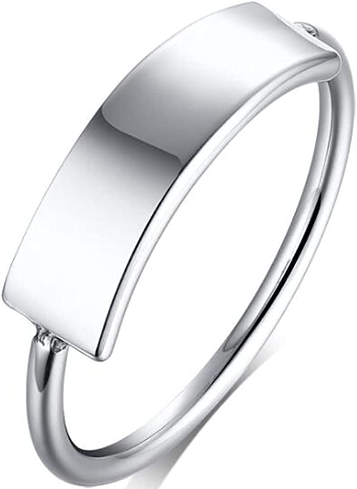 Stainless Steel Classic Simple Plain Wedding Band Promise Anniversary Statement Ring