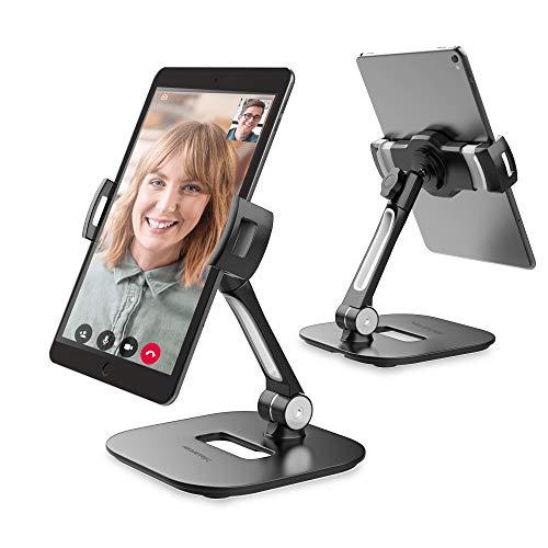 "AboveTEK Elegante Soporte de Aluminio para Tableta, Soporte para teléfono Celular, Plegable Giratorio de 360 ° Soporte de Escritorio para Escritorio de iPhone iPad Cabe 4-11"" Tabletas/Smartphones"