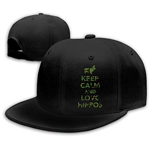 OOworld Keep Calm And Love Hippos Unisex Cappellino da Baseball con Tinta Unita Regolabile