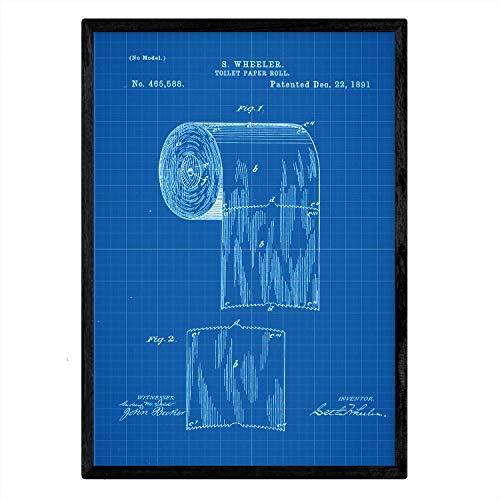 Poster Nacnic patent toiletpapier. Blad met oud ontwerp patent A3-formaat met blauwe achtergrond