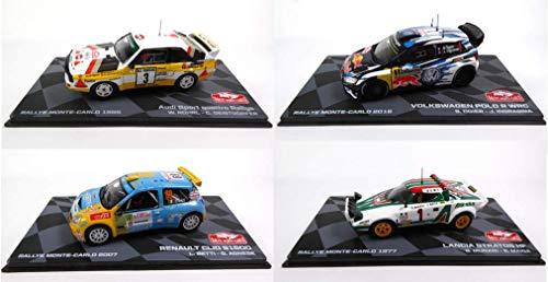 Eaglemoss Set of 4 WRC 1/43 Ixo Rally Cars: Polo + Lancia Stratos + Auto Modello Quattro + Clio S1600 (BR1 + BR3 + BR5 + BR9)