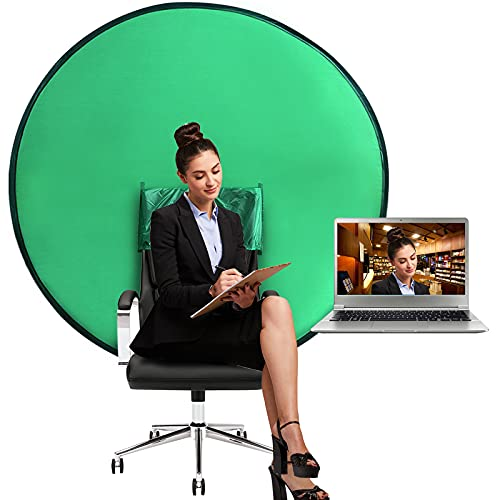 Green Background, Portable Webcam Background, 4.65 Ft Green Background Screen Portable, Chroma Key Green for Video Chats, Zoom, Skype, Green Screen Video Backdrop.(56in/142cm)