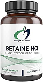 Designs for Health Betaine HCl with Pepsin - 750mg Betaine Hydrochloride + Protein Digestive Enzyme (120 Capsules)