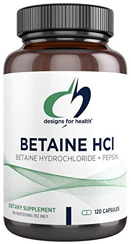 Designs for Health Betaine HCl with Pepsin - 750mg Betaine Hydrochloride + Protein Digestive Enzyme - Non-GMO Supplement to Support Digestive Function (120 Capsules)