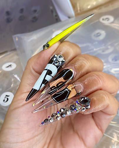 Bint Nails 500PCS Lavish Long Clear Stiletto Nail Tips For Acrylic Nails (Natural)