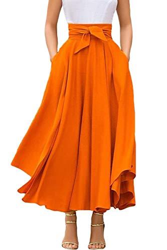 DAYTOYXZ Damen A-Linie Elegant Faltenrock Hohe Taille Maxi Lang Rock Unregelmäßige Rockabilly Vintage Retro Swing Röcke (Orange, M)