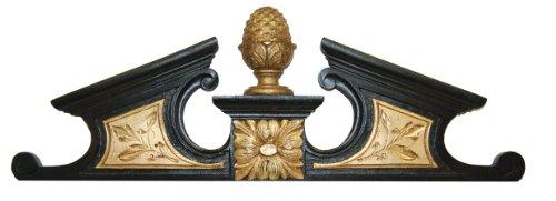 Hickory Manor Pineapple Pediment Over Door Decor, Gold/Black