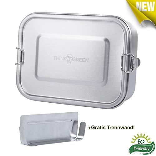ThinkGreen *Premium* Edelstahl-Lunchbox/Brotdose [Auslaufsicher, Dicht] [1200 ml] inkl. Flexibler Trennwand. Plastik-frei | Nachhaltig | Umweltfreundlich - Geeignet für Erwachsene und Kinder!