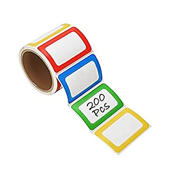 PAPRMA Nametag Labels 200 Colorful Plain Name Stickers Name Tags Stick On for Kids Wall Desk Clothes 3 1/2 X 2 1/4 1 Roll