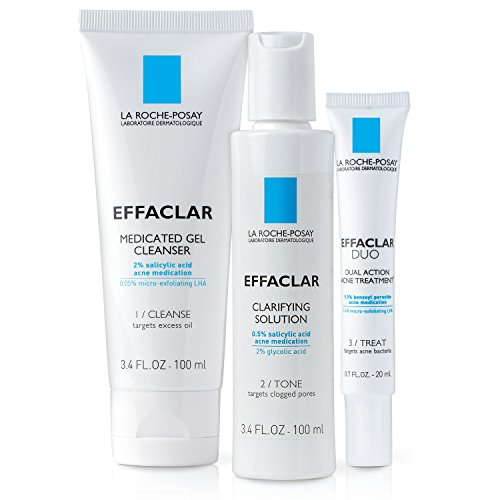 La Roche-Posay Effaclar Dermatological Acne Treatment 3-Step System with Medicated Gel Cleanser, Clarifying Solution and Effaclar Duo, 2-Month Supply