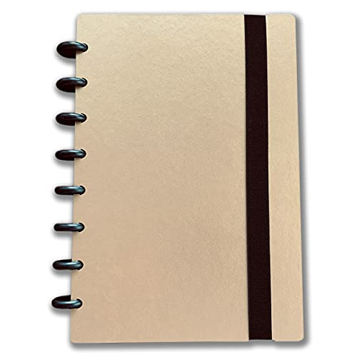 Bancari Customizable Discbound Notebook   Junior Size, Gold   120 Pages (60 Sheets)   Journal Notepad with Elastic Band