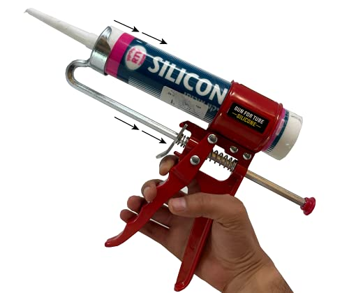 """Compact 11"""" Caulking Gun - Anti Drip Extreme-Duty Caulking Gun - New and Innovative Design - Lightweight Metal Frame - for the Smallest to the Largest Jobs - Compact-Design Just 11 Inches / 0.65 lbs"""