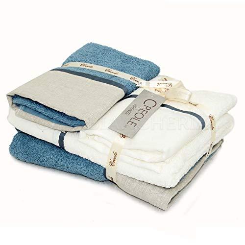 2 Coppia Asciugamani di Spugna Creole Lino Profilo-Blu