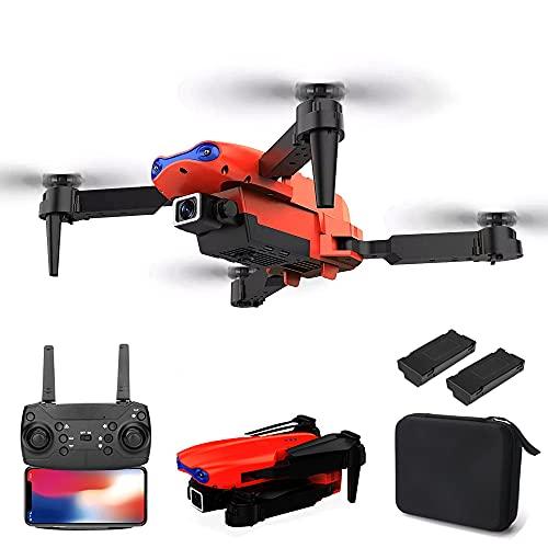 XIAOKEKE Drone 4K HD Visual, Posizionamento dei Giocattoli Quadricottero con Telecomando, Drone Pieghevole WiFi FPV di Posizionamento Visivo, Mini Drone con Luci A LED (2 Batterie),Arancia