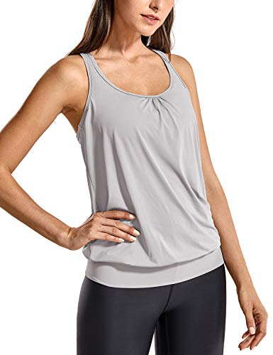 SYROKAN Damen Sport T-Shirt Tank Top - Ringerrücken Gym Elastische Fitness Möwe Grau 40