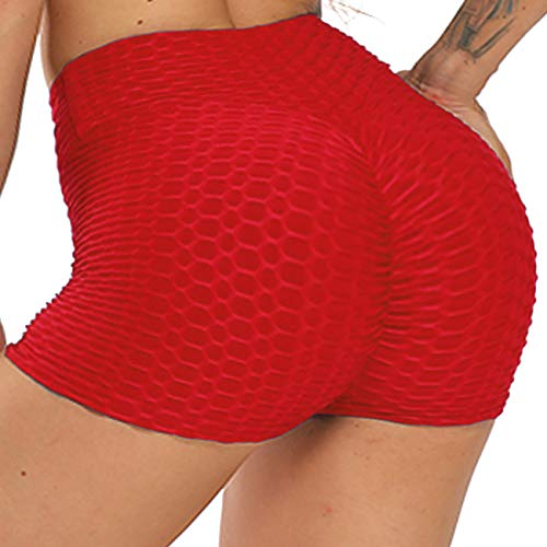 STARBILD Shorts de Fitness Moda Mallas Pántalones Cortos Deportivos de Skinny Elástico Alta Cintura para Mujer Yoga Gimnasio Rojo M