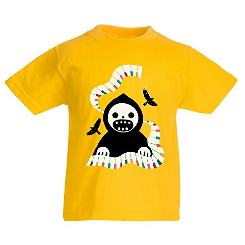 Kinder T-Shirt Halloween Horror Nights - The Death is Playing on Piano - cool Scarry Design (5-6 Years Gelb Mehrfarben)