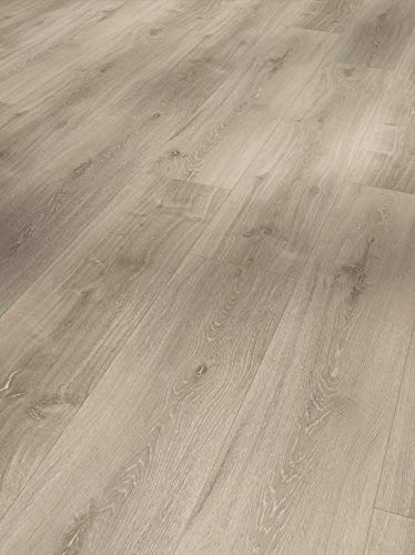 Parador Vinyl Basic 5.3 - Vinylboden Eiche grau geweißt - Hochwertiger, elastischer Bodenbelag in Holz-Optik, leise und komfortabel mit Klick-Verlegung - mit V-Fuge