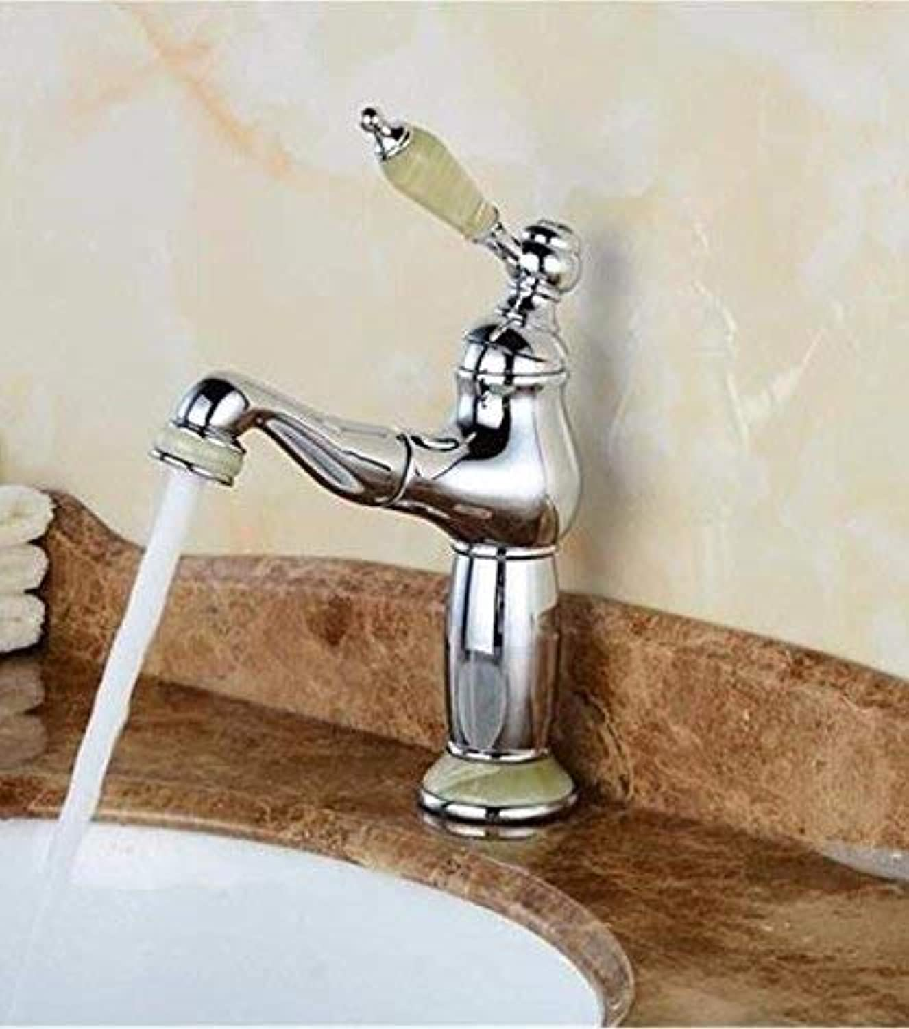 FERZA home Sink Mixer Tap Bathroom Kitchen Basin Water Tap Leakproof Save Water Natural Cock Copper Pull gold Single Hole Basin Hot And Cold Water Taps For F