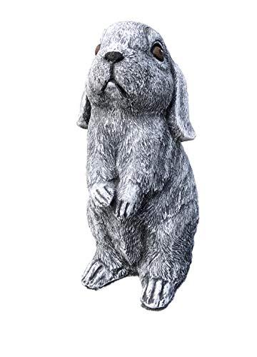Steinfigur Hase Kaninchen Widder Balduin, Frost- und Wetterfest bis -30°C, massiver Steinguss