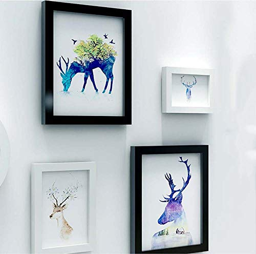 Shangfu Decoration Painting Simple Modern Nordic Wall Painting Free Combination 8pcs Wall Clock Creative Photo Frame Decorative Elk Painting Living Room Hanging Painting Sofa Background Wall DIY