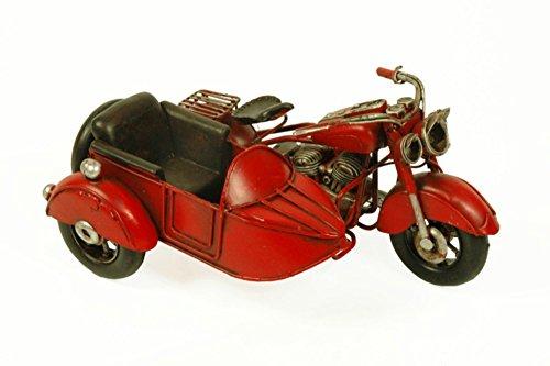 CAPRILO Figura Decorativa de Metal Moto Harley Roja con Sidecar Vehículos. Adornos y Esculturas. Coleccionismo. 19 x 13 x 10 cm.
