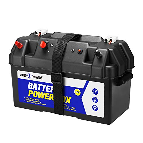 ATEM POWER Battery Box 12V Portable, with 2 USB Ports/Anderson Plug/DC Port/CIG Socket, LCD Display Voltage, Circuit Breaker Safety Use, Deep Cycle for 4WD/Boat/Camping/Travel (2 Type A)