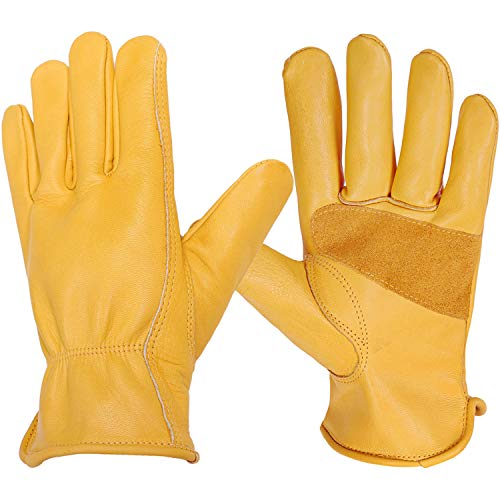 Men's Leather Yard Work Gloves, Sturdy Fingers with Stretchable Wrist for Farm, Construction, Warehouse 1 Pair (Gold,L)