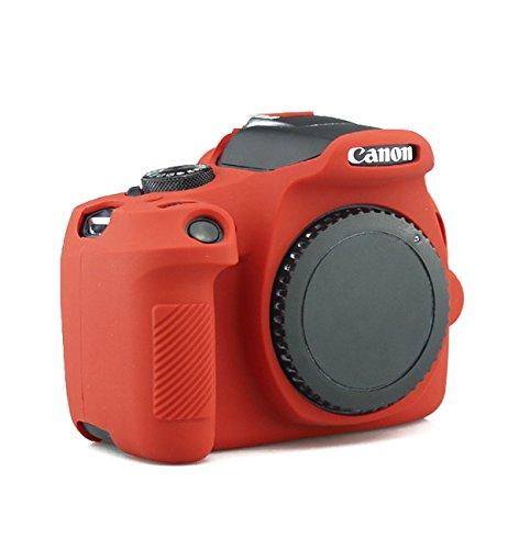 TuYung Funda de silicona para cámara digital Canon EOS 1300D Rebel T6 (rojo)