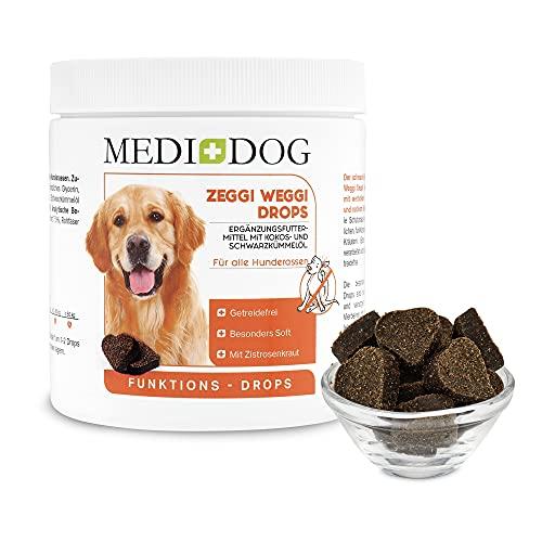 Medidog Zeggi Weggi 400g Premium Schutz Drops für Hunde, Kaltgepresst und Getreidefrei, mit Schwarzkümmelöl, Kokosöl und Zistrose, Hypoallergen