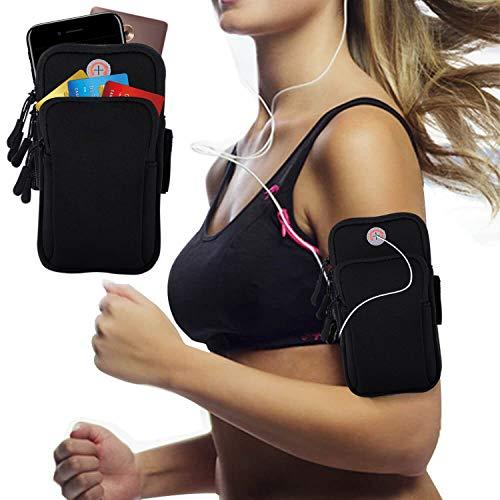 Armband Armtasche, Rennen Outdoor Handytasche Sport Laufen Doppel Reißverschluss Sportarmband Armbinde für Handy Bis zu 7,0