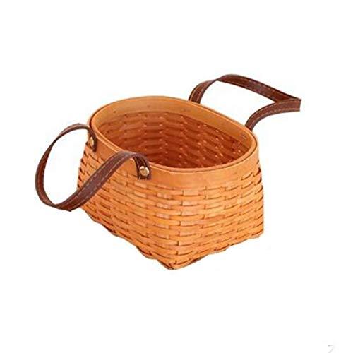 Cesta de mimbre para pícnic Cesta de picnic Chip de madera natural Cesta de tejido de cuero doble Cesta de cuero Cesta de almacenamiento Cesta de verduras Cesta de vegetal Picnic Basket Fruit Bask Ces