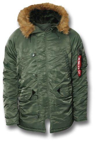 Alpha Industries Herren-Jacke für extrem kaltes Wetter, N3B Parka Gr. Small, grün