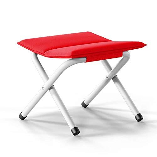 LIUSHENGFUBH Taburete para almacenaje Otomano Escabel Taburete Plegable Portátil Taburete De Paso Ajustable Descanso Al Aire Libre Entrenar Espesar Metal (Color : Red)